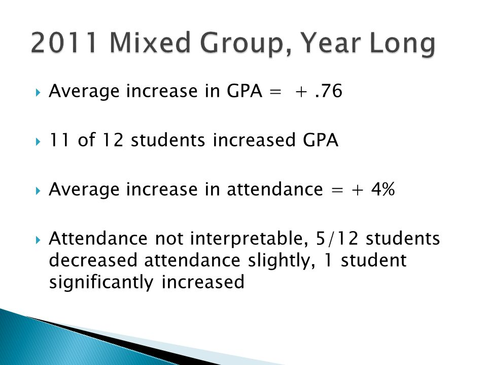 2011 Mixed Group, Year Long Average increase in GPA = + .76