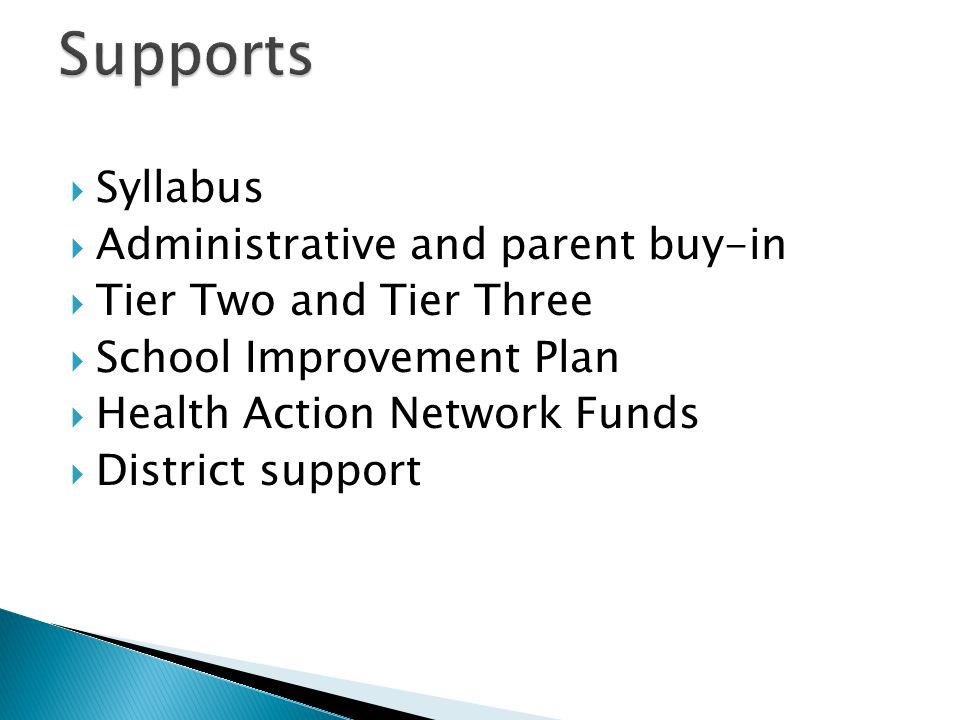 Supports Syllabus Administrative and parent buy-in