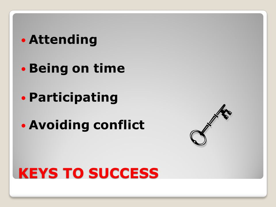 KEYS TO SUCCESS Attending Being on time Participating