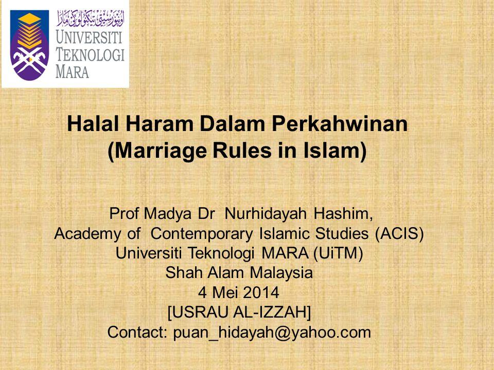 Halal Haram Dalam Perkahwinan (Marriage Rules in Islam)