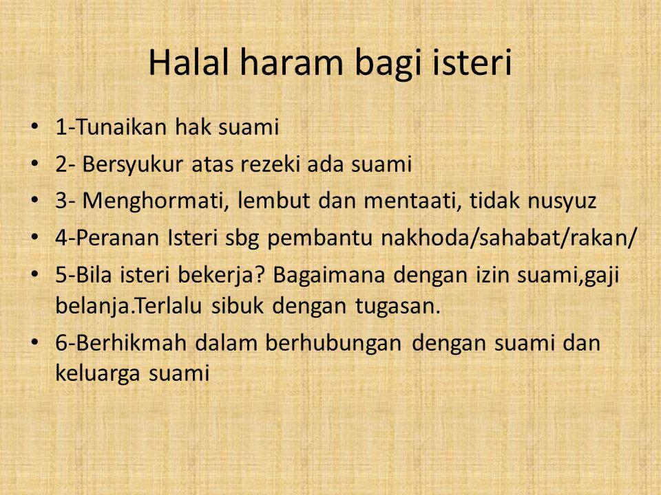 Halal haram bagi isteri