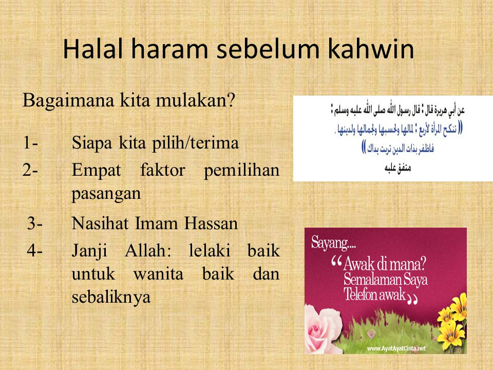 Halal haram sebelum kahwin