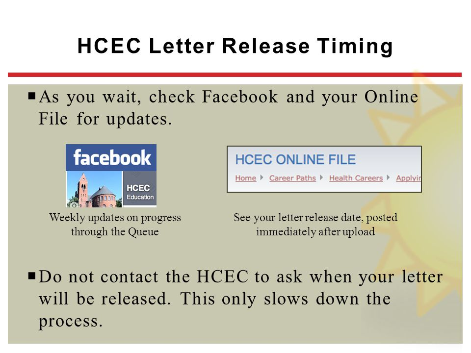 HCEC Letter Release Timing