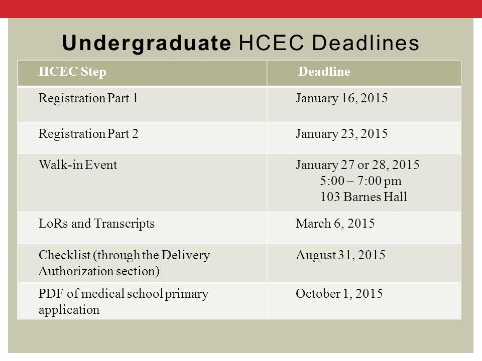 Undergraduate HCEC Deadlines