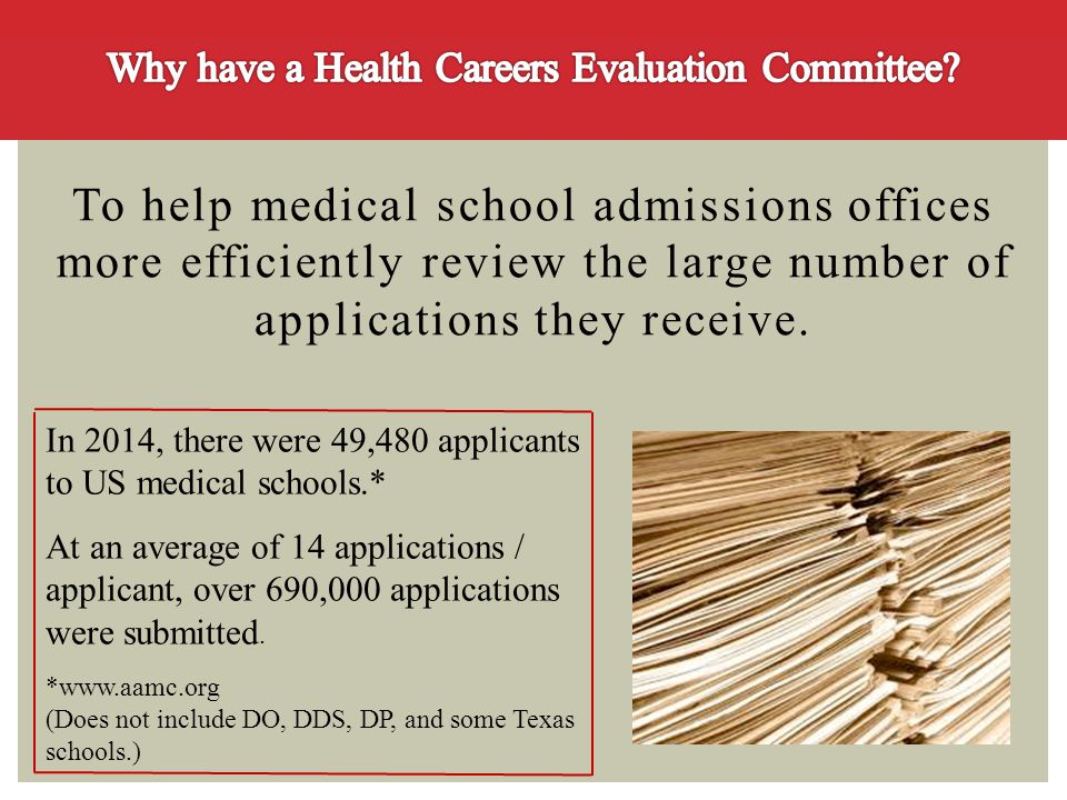 Why have a Health Careers Evaluation Committee