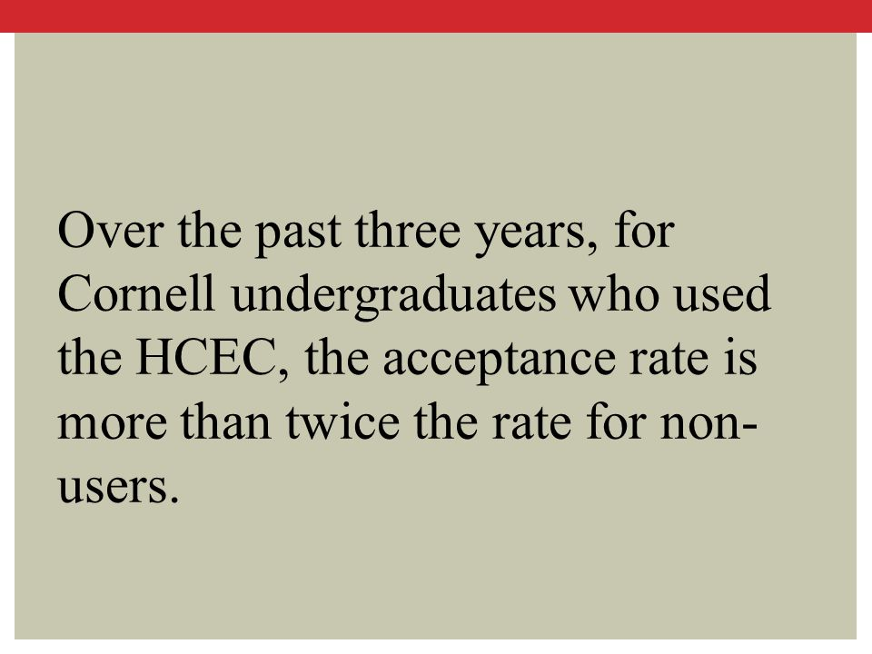 Over the past three years, for Cornell undergraduates who used the HCEC, the acceptance rate is more than twice the rate for non-users.