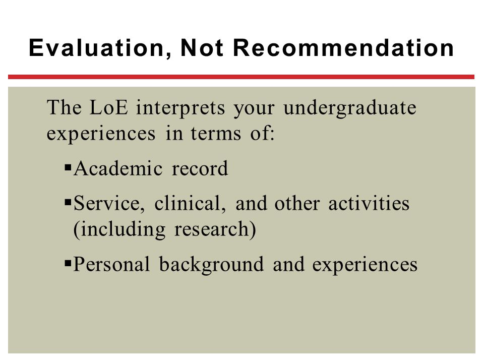 Evaluation, Not Recommendation