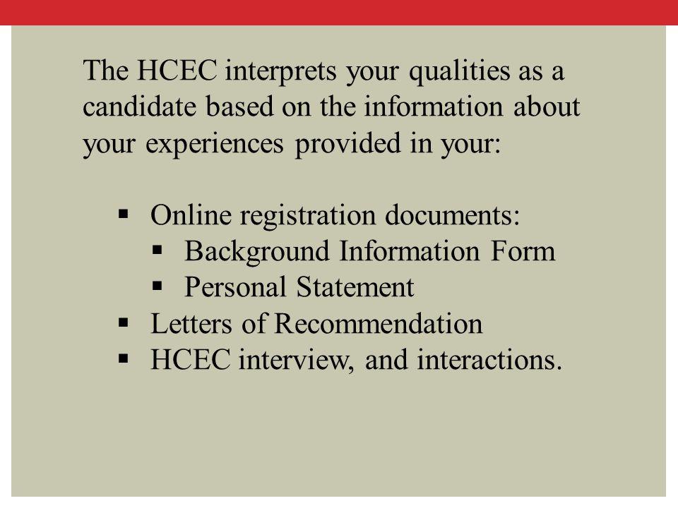 Online registration documents: Background Information Form