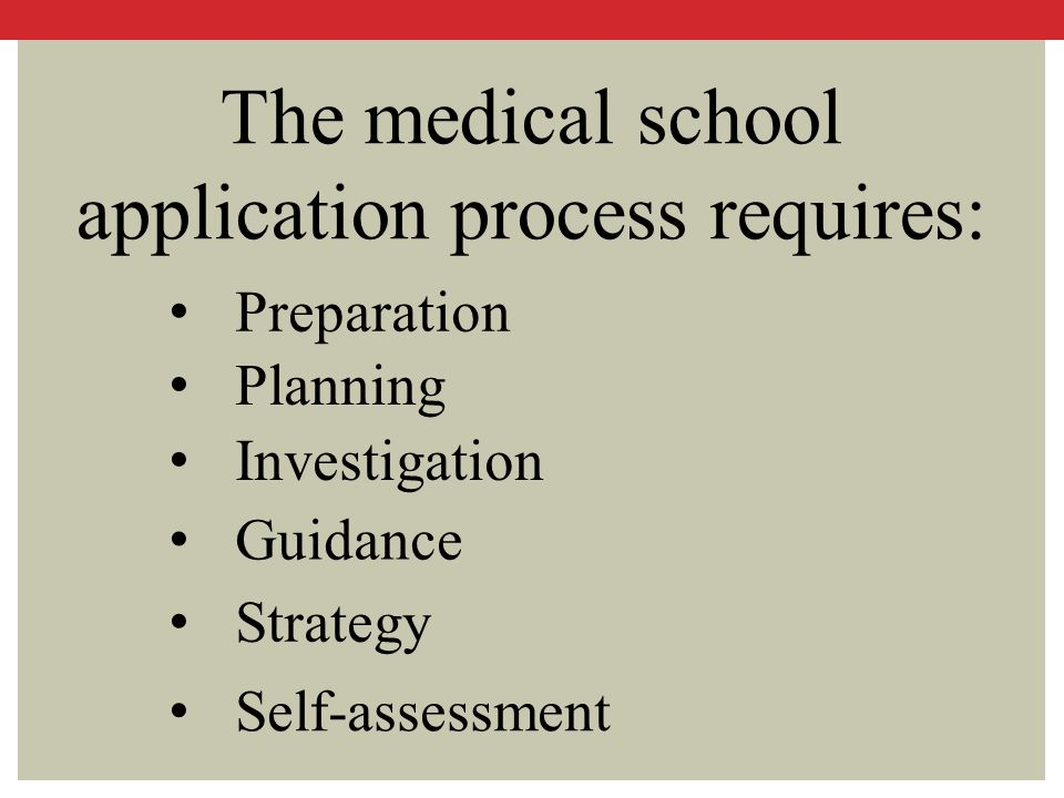 The medical school application process requires: