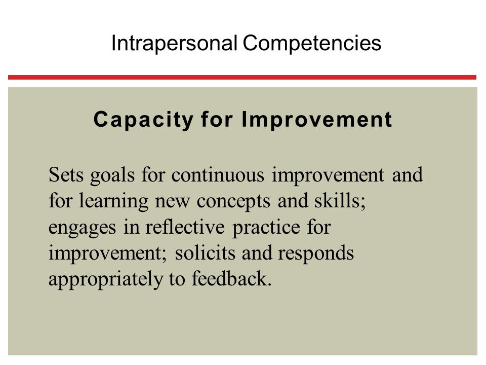 Capacity for Improvement