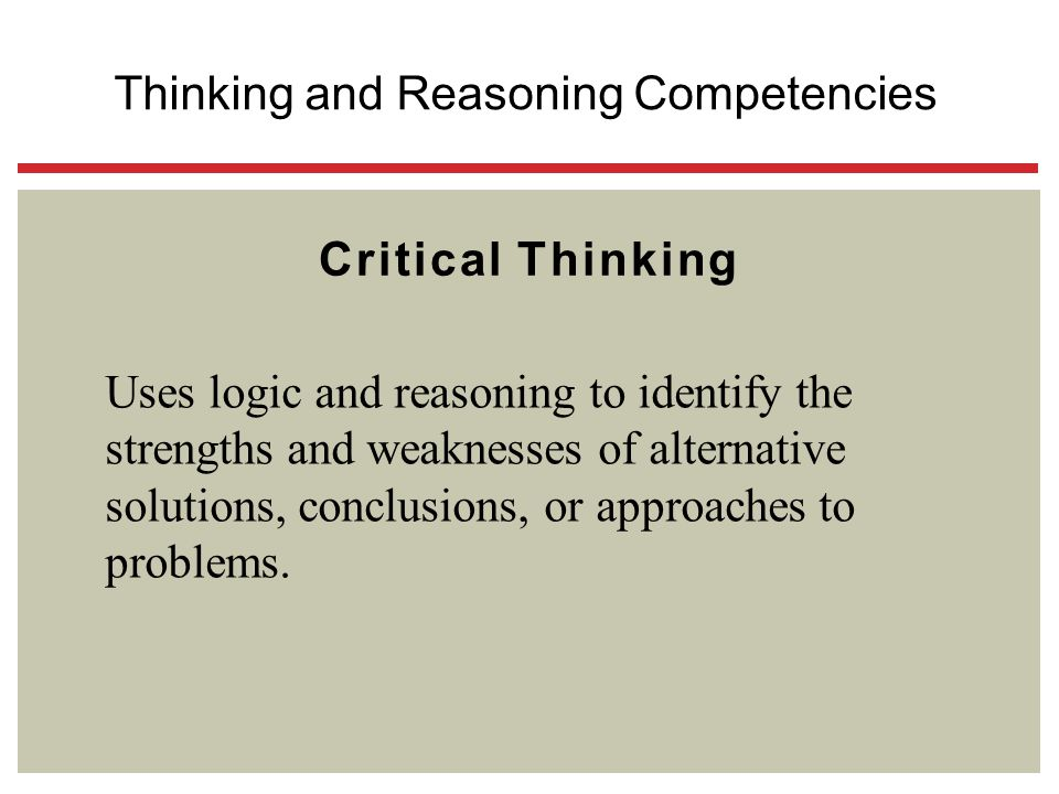 Thinking and Reasoning Competencies