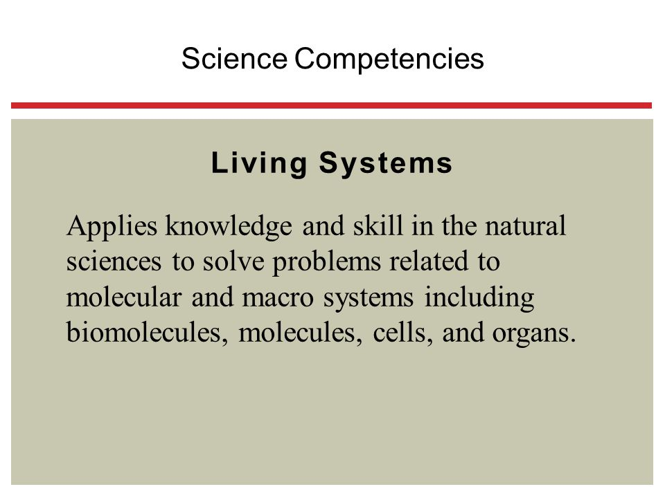 Science Competencies Living Systems.