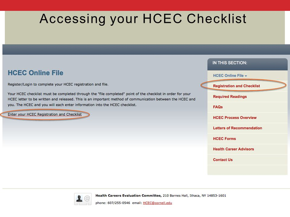 Accessing your HCEC Checklist