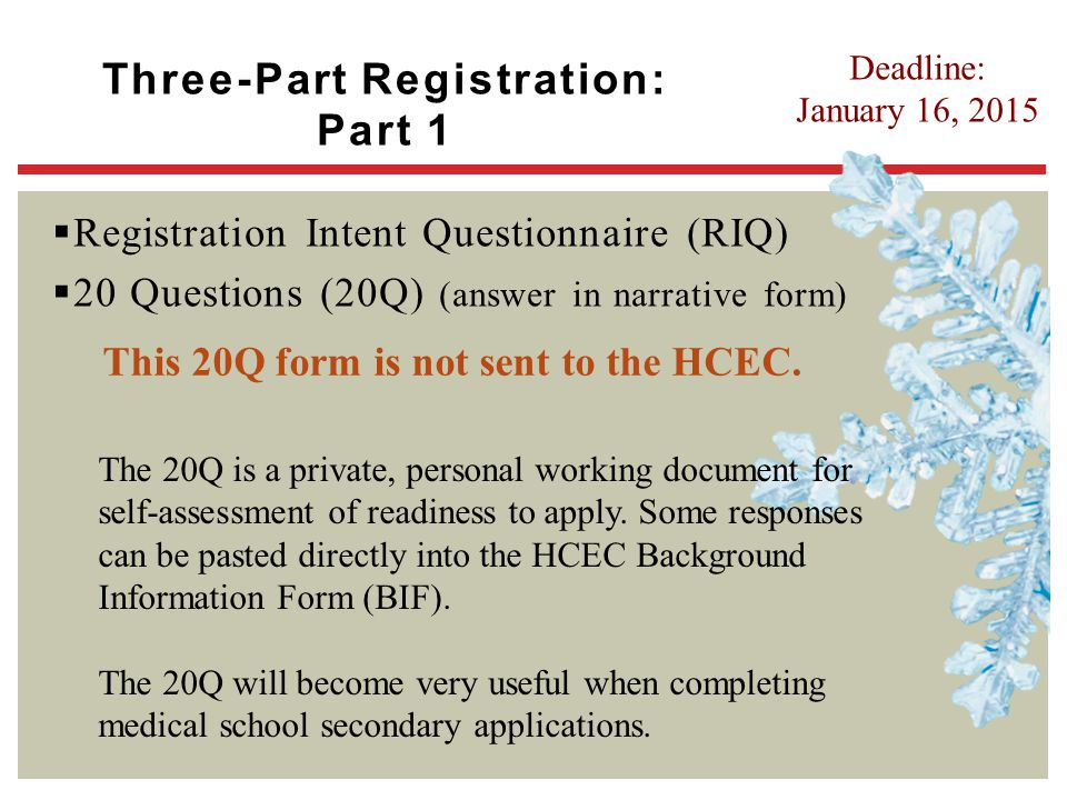 Three-Part Registration: Part 1