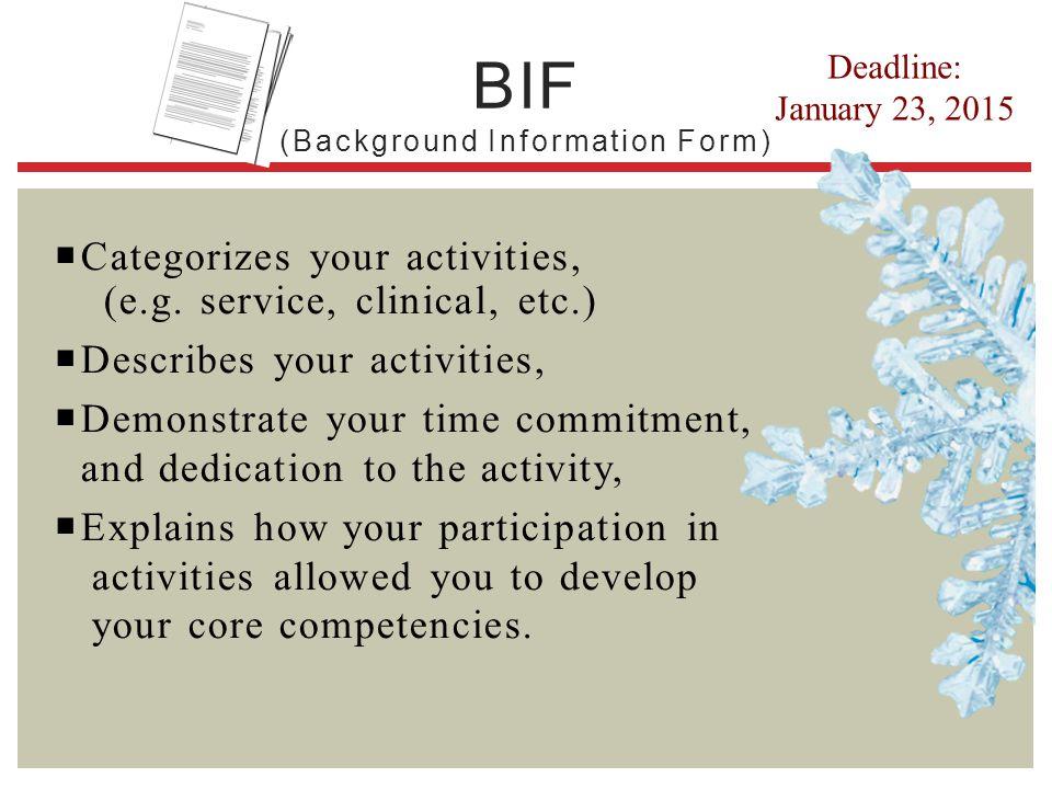 BIF (Background Information Form)