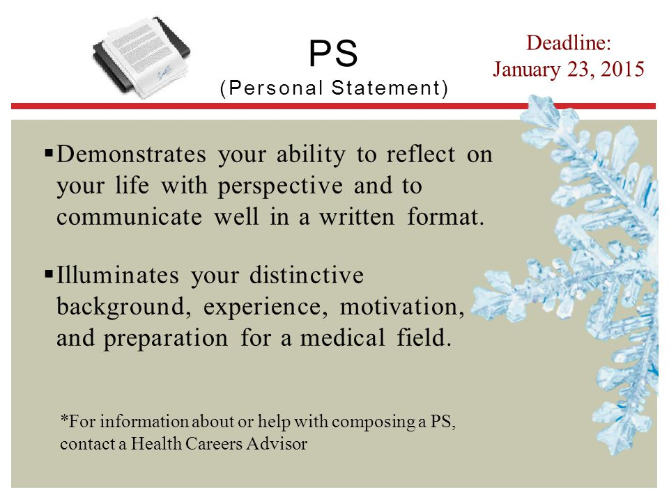 PS (Personal Statement)