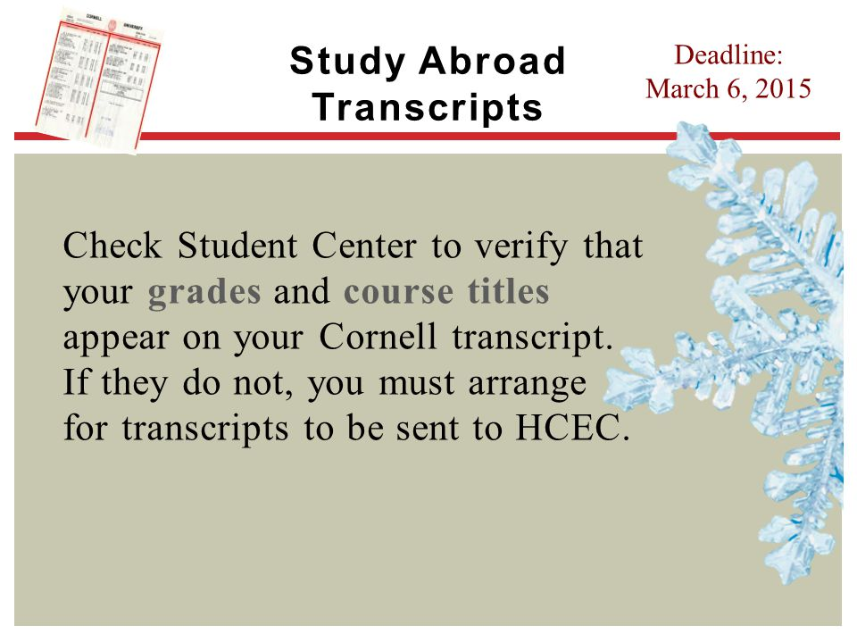 Study Abroad Transcripts