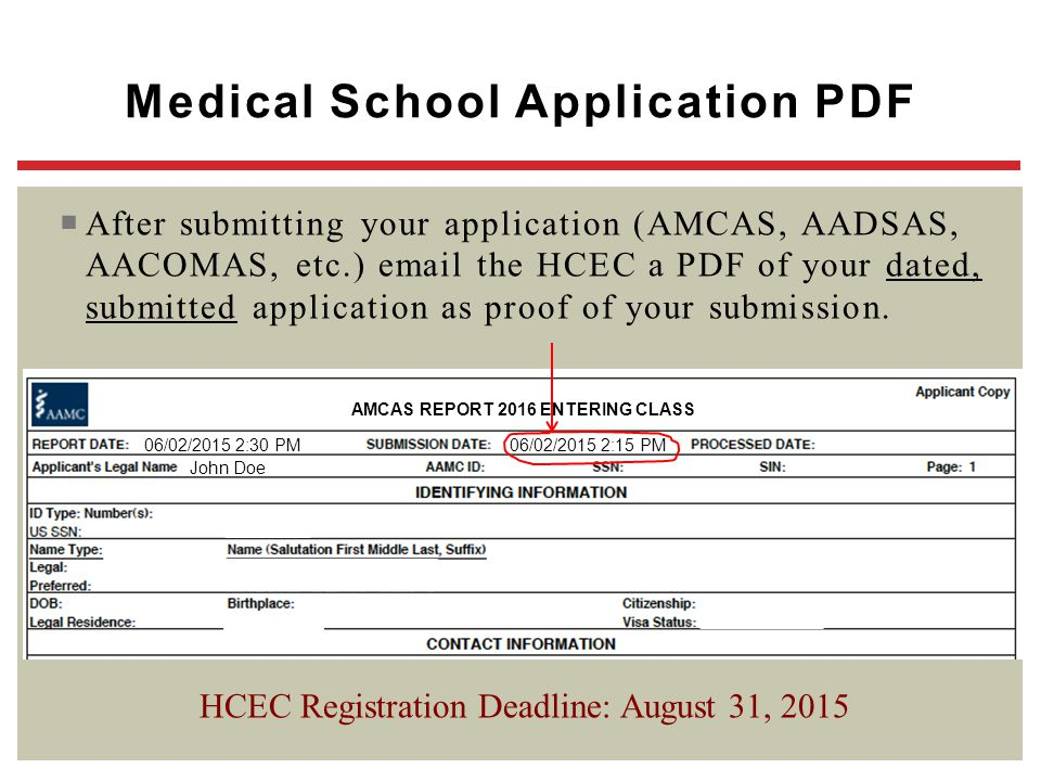 Medical School Application PDF