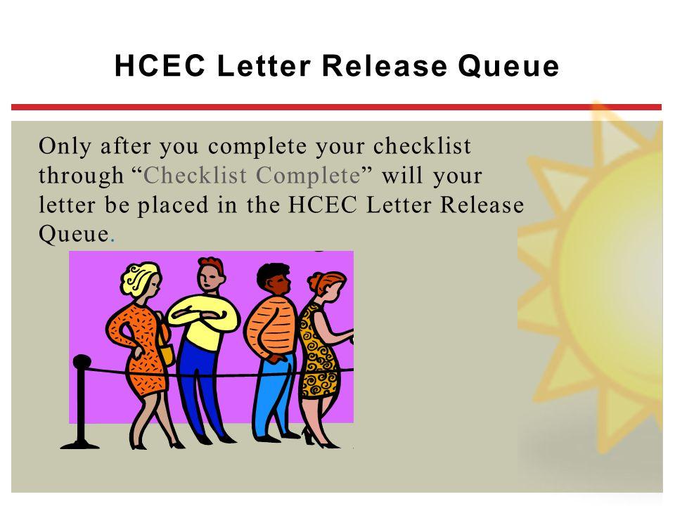 HCEC Letter Release Queue