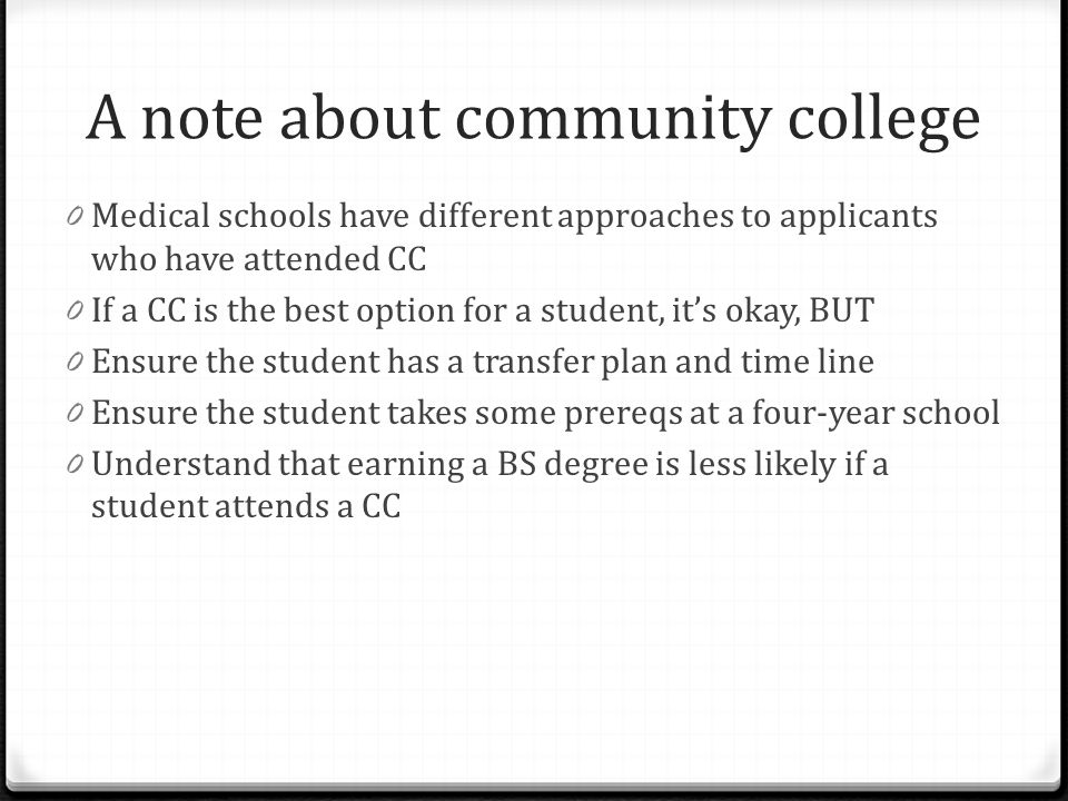 A note about community college