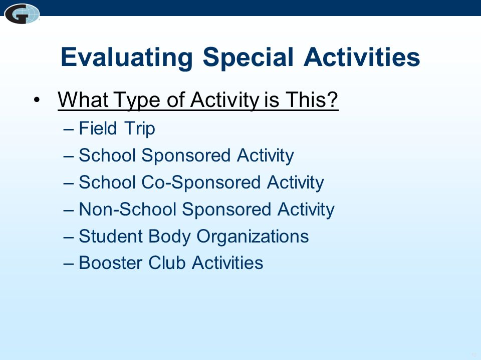 Evaluating Special Activities