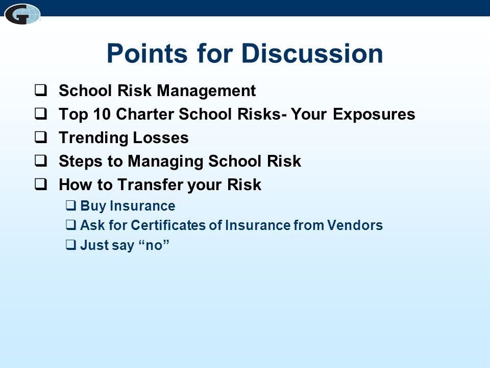 Points for Discussion School Risk Management