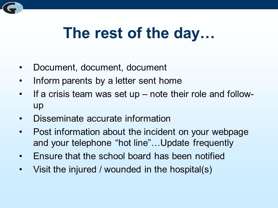 The rest of the day… Document, document, document