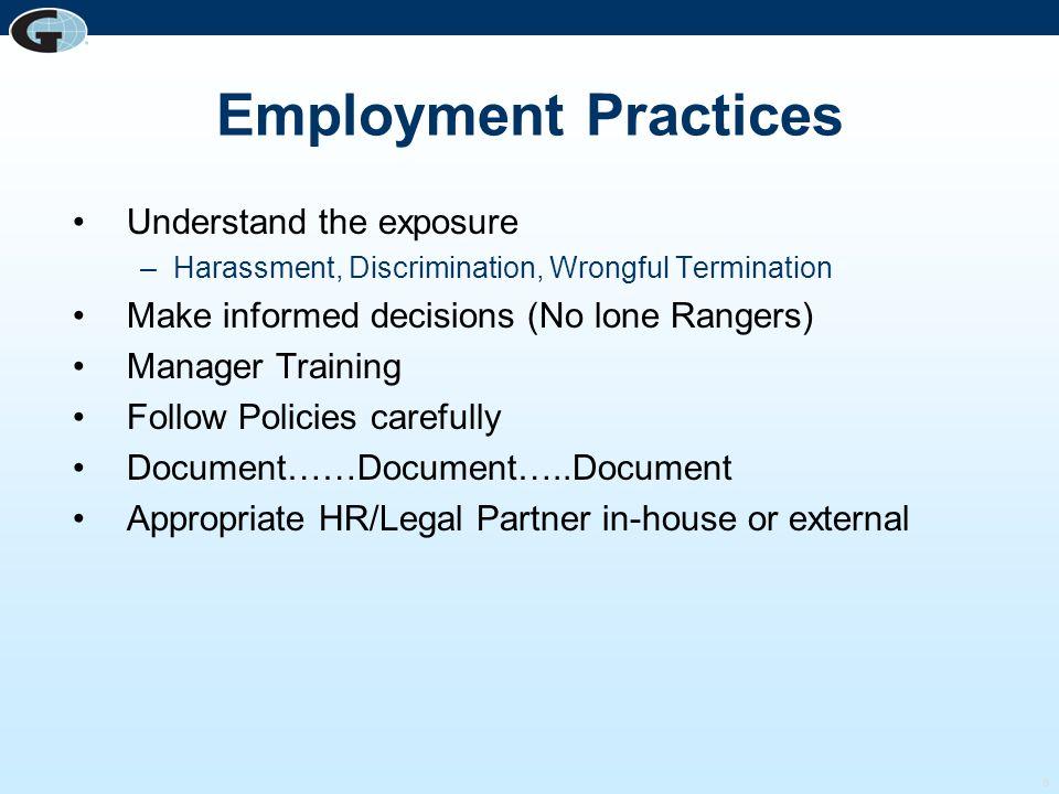 Employment Practices Understand the exposure
