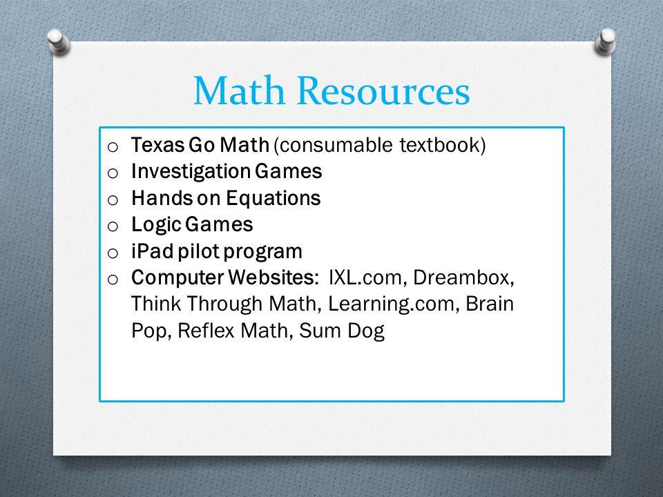 Math Resources Texas Go Math (consumable textbook) Investigation Games