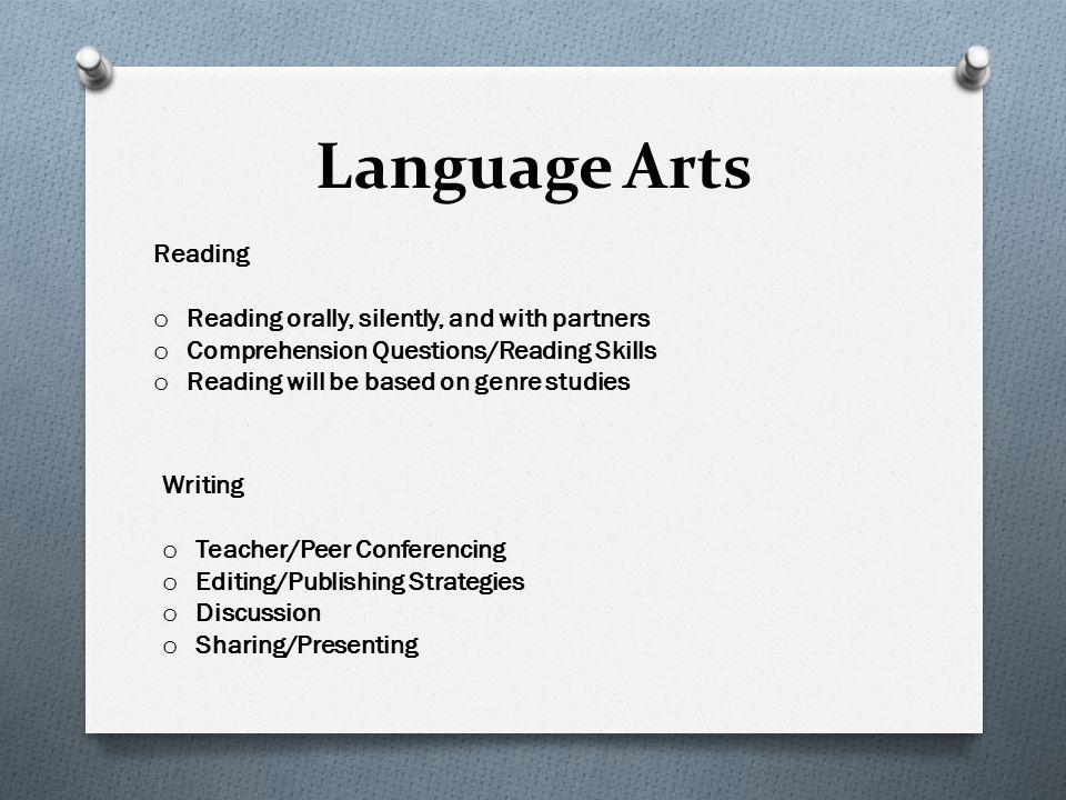 Language Arts Reading Reading orally, silently, and with partners