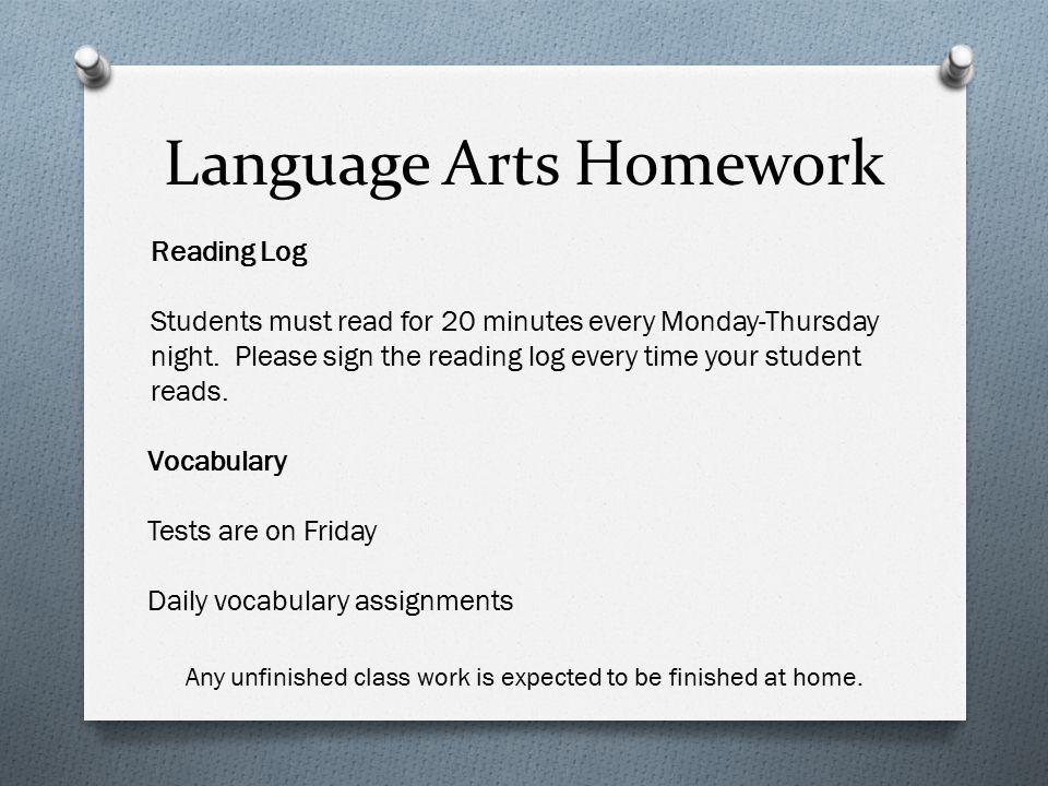 Language Arts Homework
