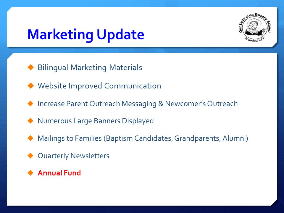 Marketing Update Bilingual Marketing Materials