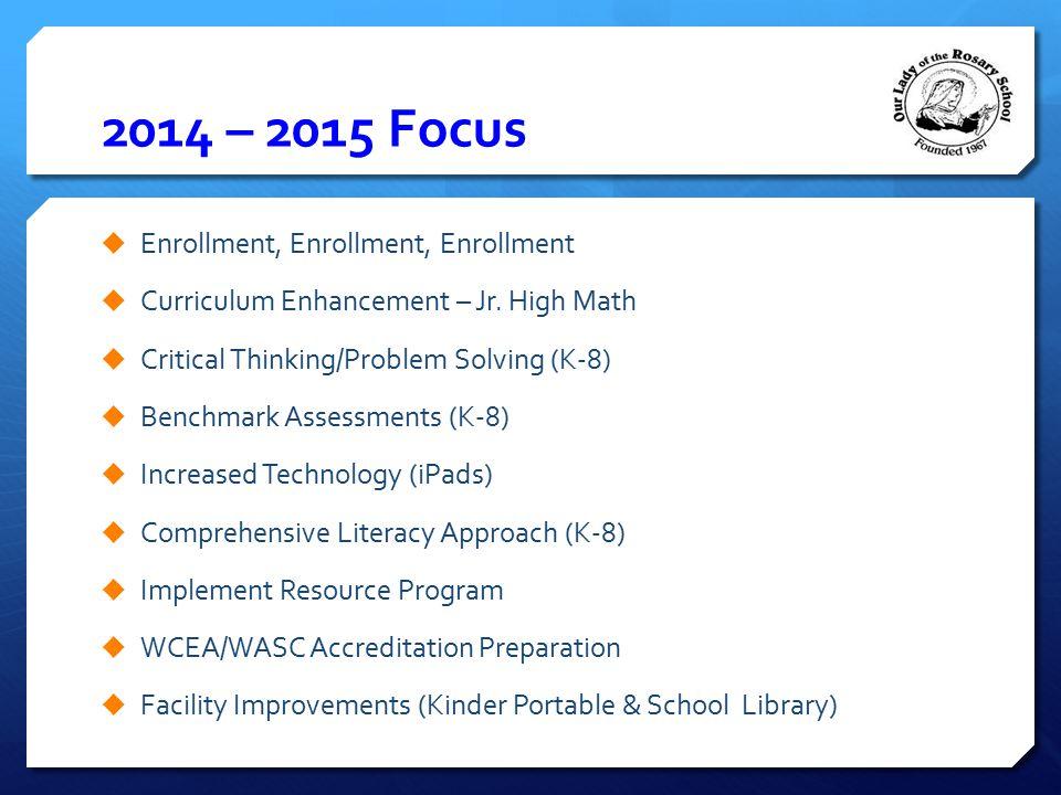 2014 – 2015 Focus Enrollment, Enrollment, Enrollment