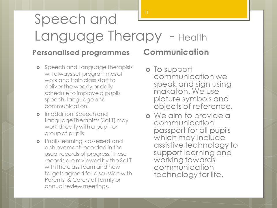 Speech and Language Therapy - Health