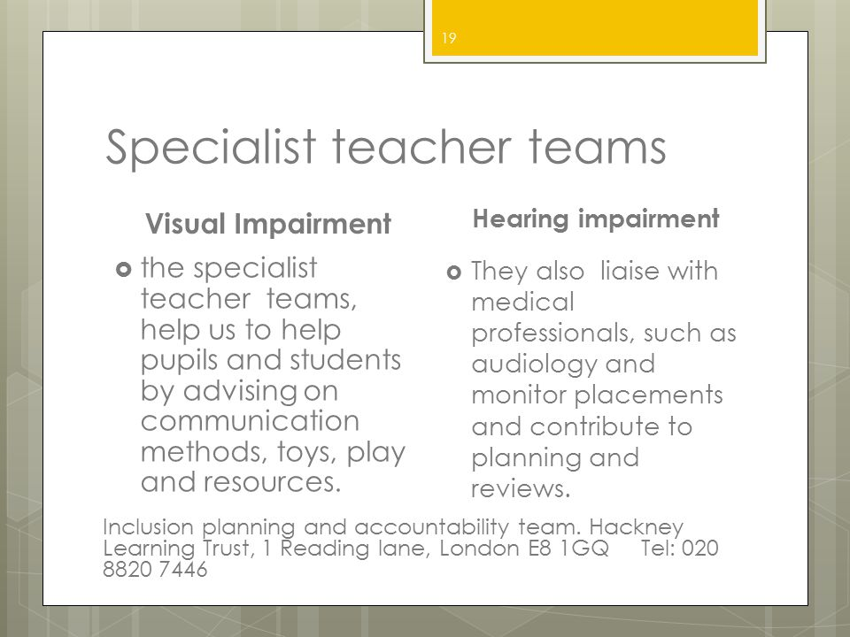Specialist teacher teams