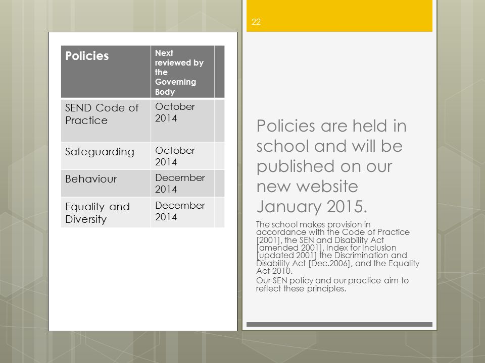 Policies Next reviewed by the Governing Body. SEND Code of Practice. October 2014. Safeguarding.