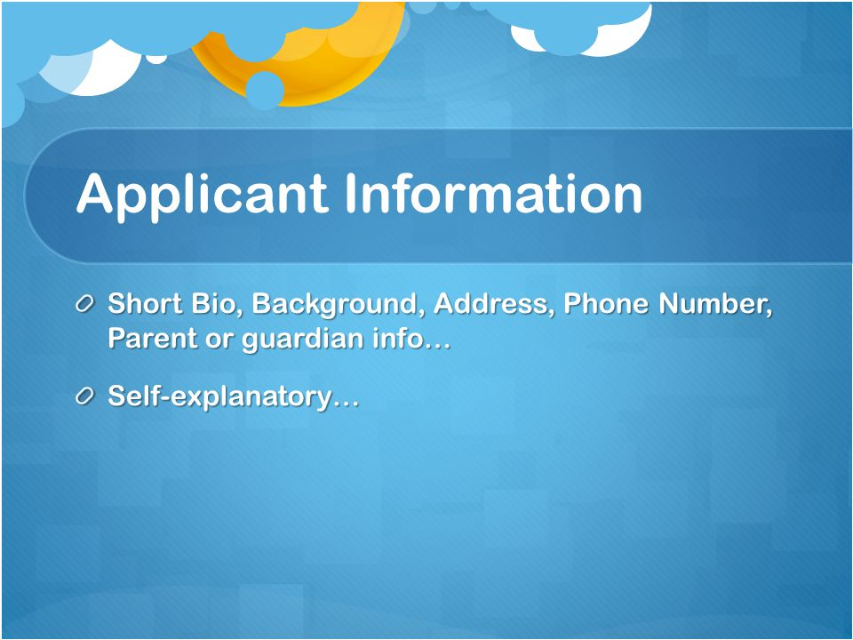 Applicant Information