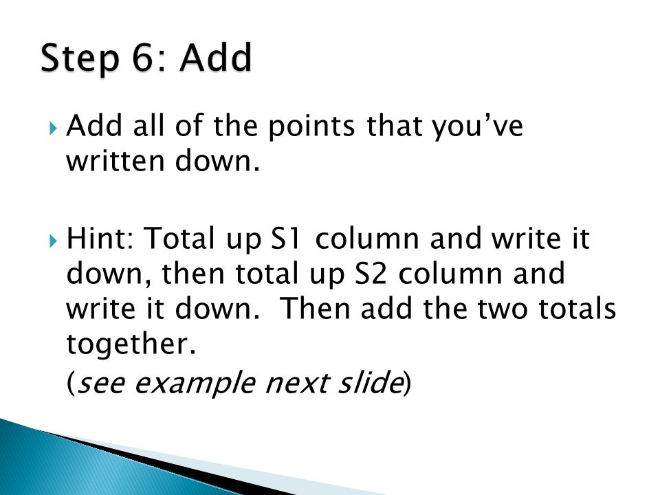Step 6: Add Add all of the points that you've written down.