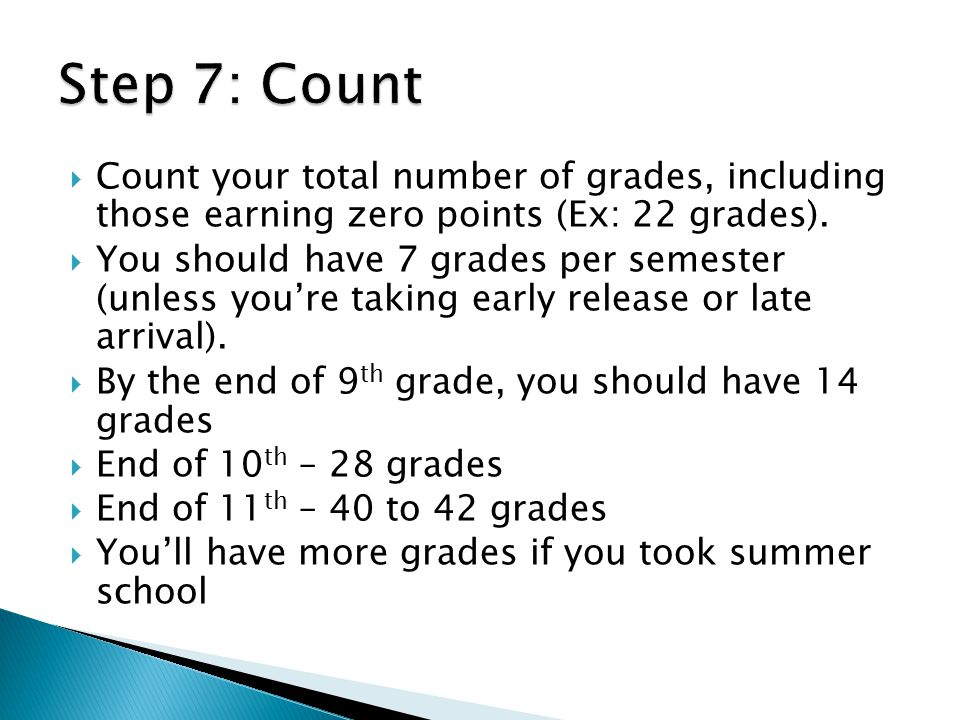 Step 7: Count Count your total number of grades, including those earning zero points (Ex: 22 grades).