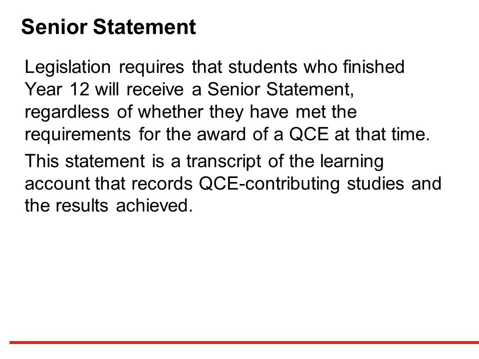 Senior Statement