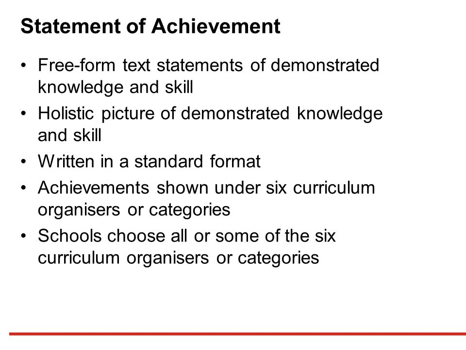 Statement of Achievement