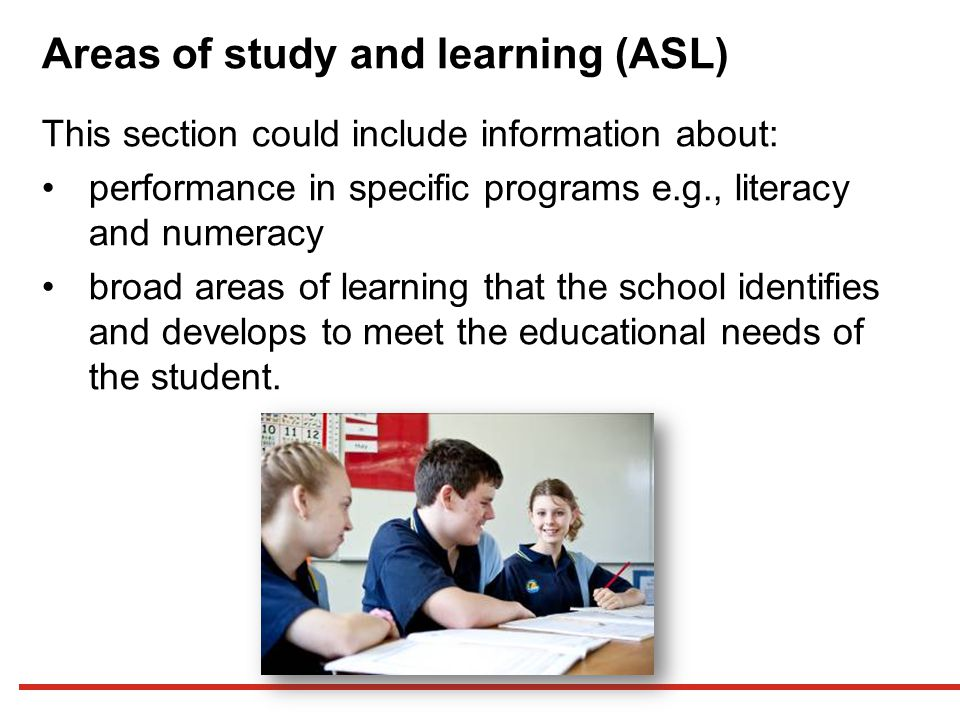 Areas of study and learning (ASL)