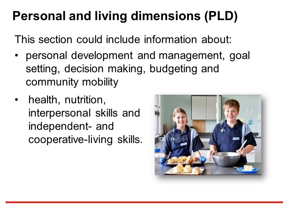 Personal and living dimensions (PLD)