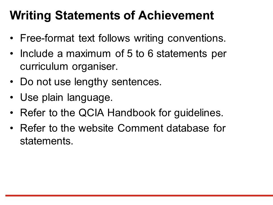 Writing Statements of Achievement