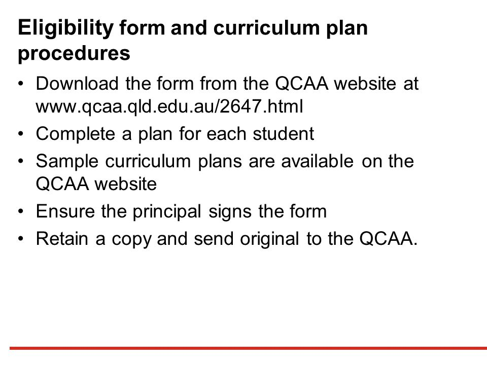 Eligibility form and curriculum plan procedures