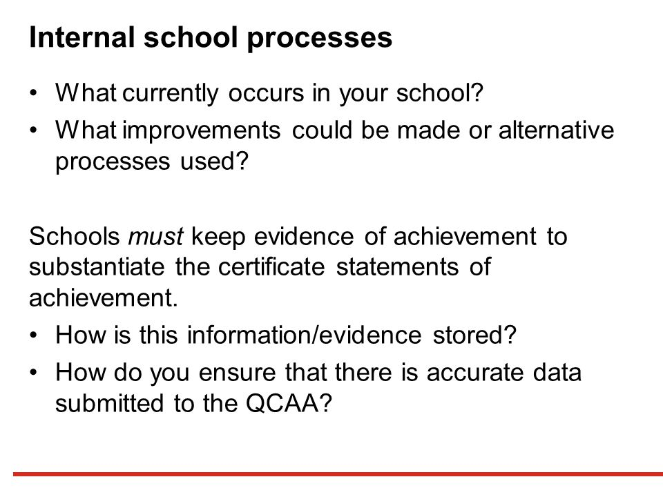 Internal school processes