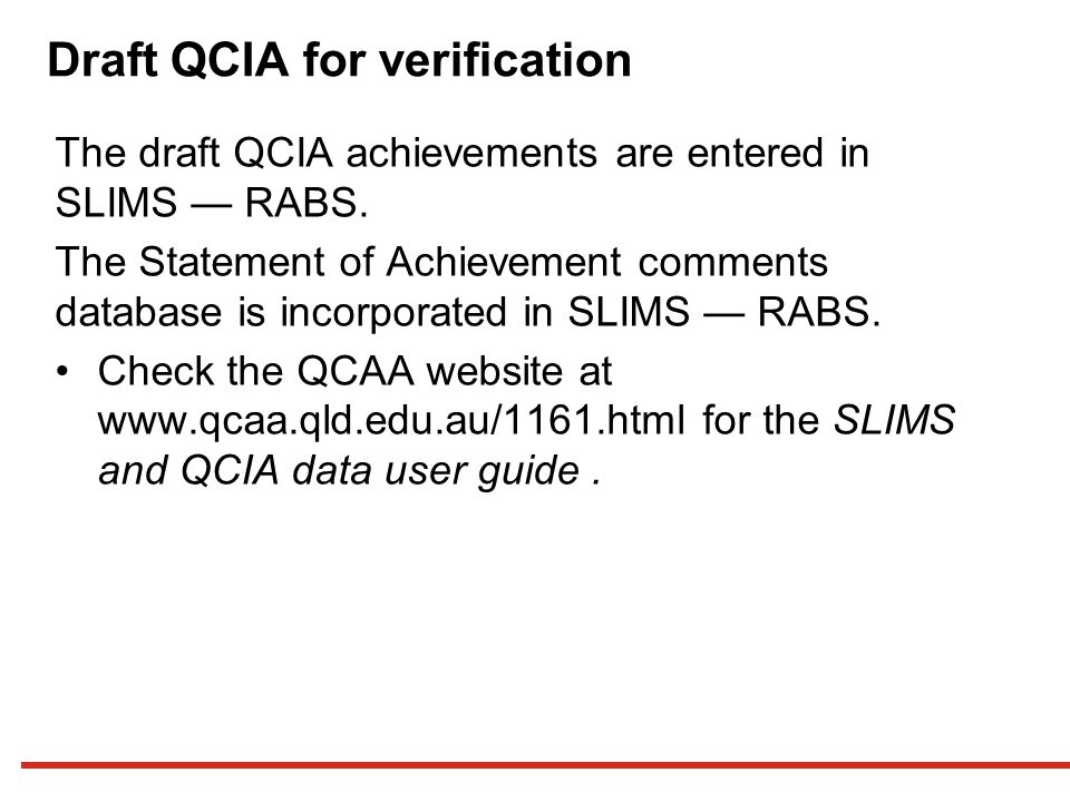 Draft QCIA for verification