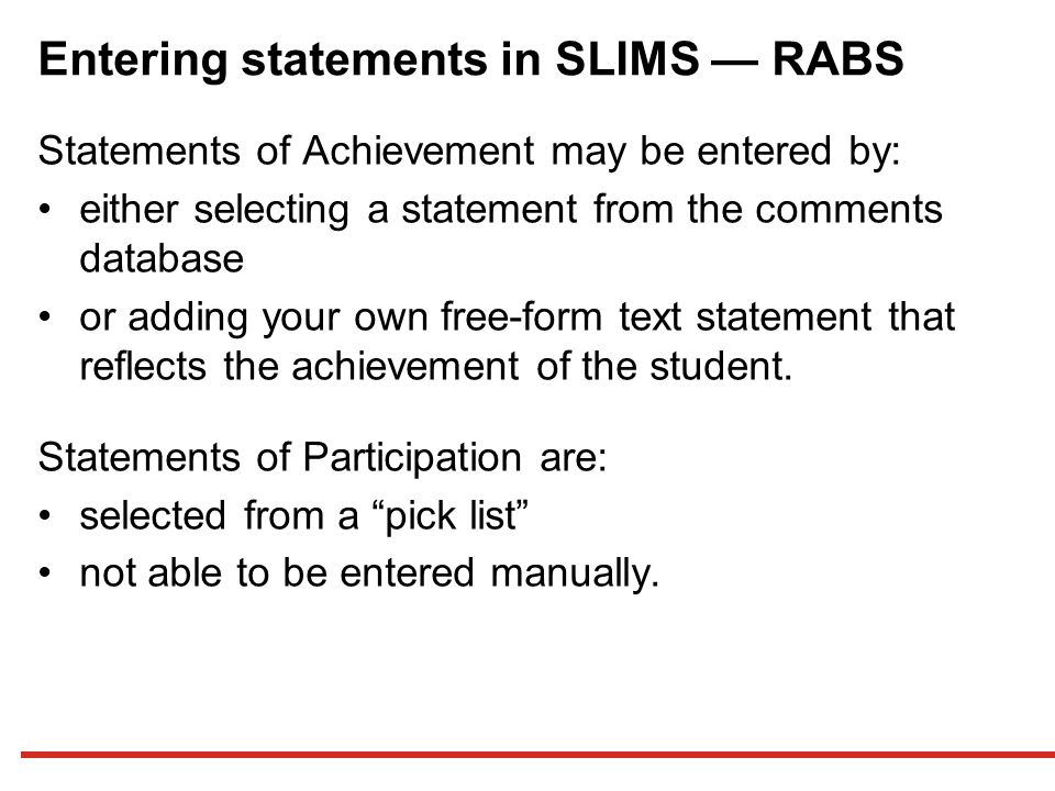 Entering statements in SLIMS — RABS