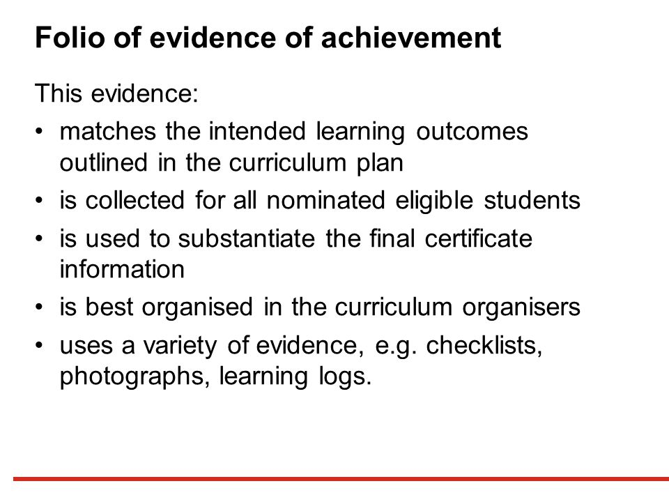 Folio of evidence of achievement