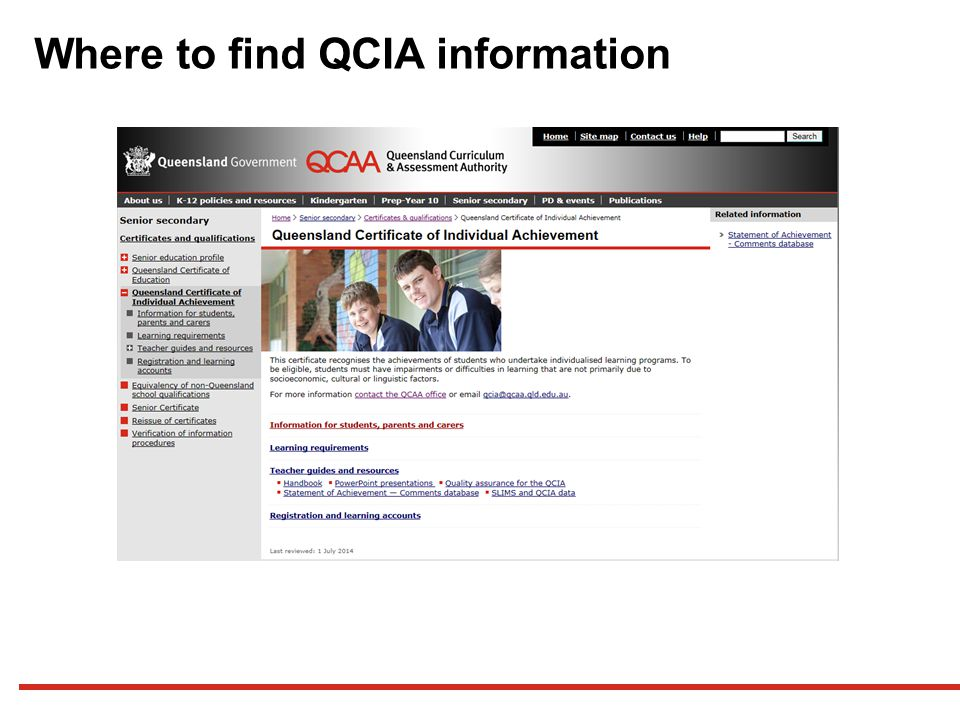 Where to find QCIA information